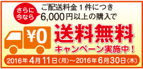 今ならご配送料金1件につき6,000円以上の購入で送料無料キャンペーン実施中!